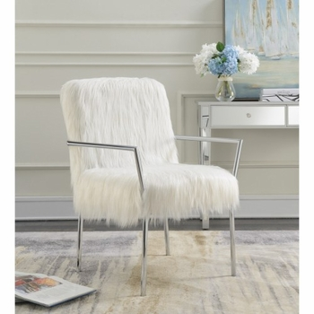 Accent Seating Contemporary Accent Chair with Faux Sheepskin