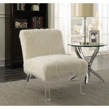 Accent Seating Faux Sheepskin Chair with Acrylic Legs