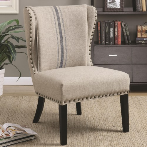 Accent Seating Traditional Accent Chair With Wing Back And Nailhead Trim