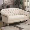 Accent Seating Traditional Settee with Tufting and Pleated Roll Arms