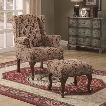 Accent Seating Tufted Wing Back Chair and Ottoman 3932b