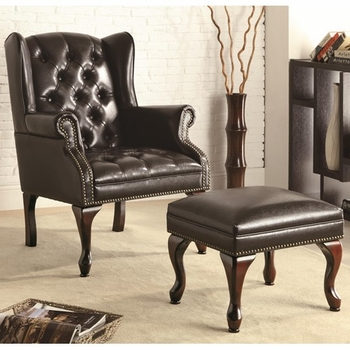 Accent Seating Traditional Wing Back Button Tufted Chair and Ottoman