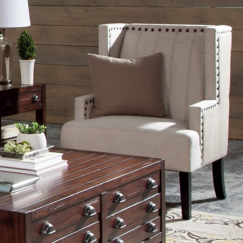 Accent Seating Two Toned Wing Chair With Nailhead Trim