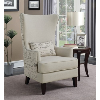 Accent Seating Winged Accent Chair with Script Back
