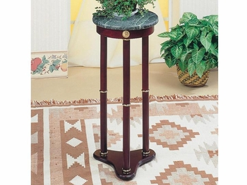 Accent Stands Green Marble Top Round Plant Stand