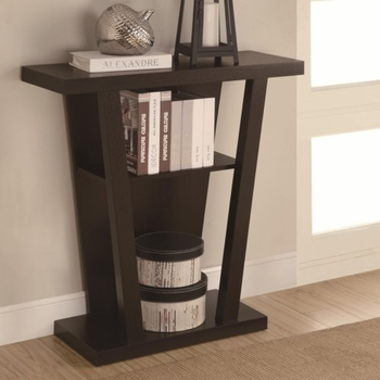 Accent Tables Angled Cappuccino Entry Table with Storage Space