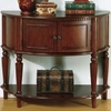 Accent Tables Brown Entry Table with Curved Front & Inlay Shelf