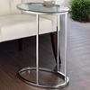 Oval Snack Table Chrome And Clear 902927