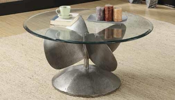 Accent Tables Industrial Coffee Table with Propeller Base