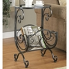Accent Tables Metal & Glass Side Table with Scroll Magazine Rack
