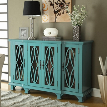 Accent Teal Cabinet with 4 Glass Doors Furniture Stores