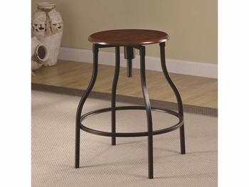 Adjustable Bar Stool with Durable Metal Frame & Black Legs