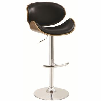 Adjustable Bar Stool with Upholstery and Wood Back