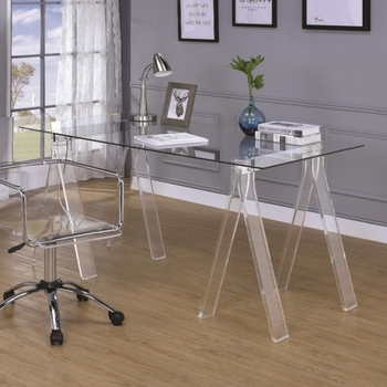 Amaturo Acrylic Sawhorse Writing Desk