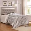 Anastasha Upholstered Queen/Full Headboard with Crystal Button Tufts