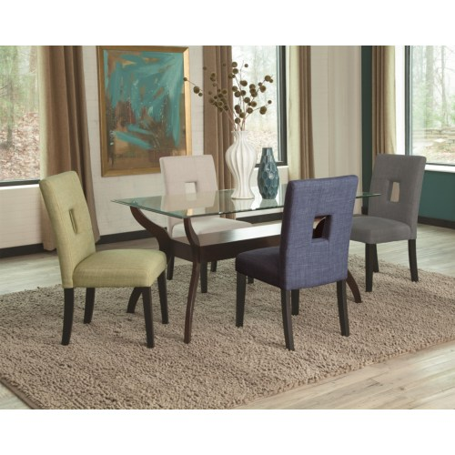 Delightful 5PC Andenne Glass Top Dining Table Set