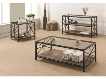 Avondale Rustic Coffee Table with Wood Shelf and Glass Top