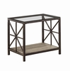 Avondale Rustic End Table with Wood Shelf and Glass Top