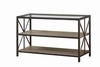 Avondale Rustic Sofa Table with Wood Shelves and Glass Top