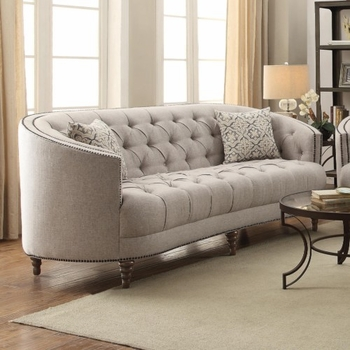 Avonlea C-Shaped Sofa with Button Tufting and Nailhead Trim 505641