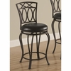 "Bar Stools 24"" Elegant Metal Barstool with Black Faux Leather Seat"