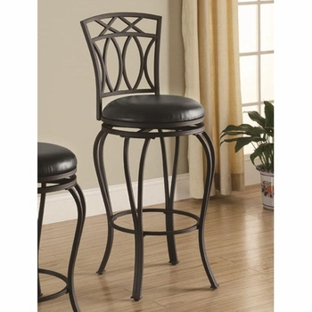"Bar Stools 29"" Elegant Metal Barstool with Black Faux Leather Seat 122060"