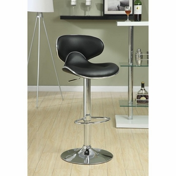 Upholstered Adjustable Height Bar Stools Black And Chrome