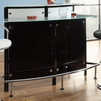 Arched Black Bar Table with Frosted Glass Counter Tops # 100139