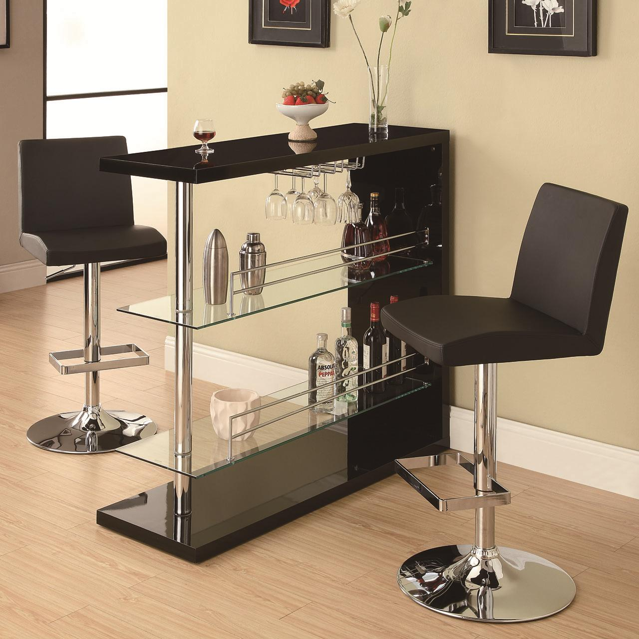 modern metal furniture. Bar Tables Rectangular Unit With 2 Shelves And Wine Holder Modern Metal Furniture R