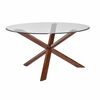 Barett Mid Century Modern Dining Table with Glass Top