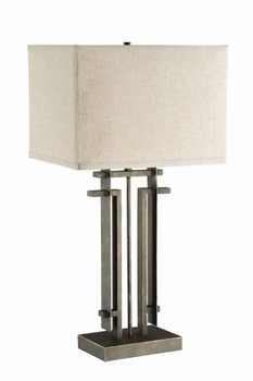 Rectangular Shade Table Lamp Black And Beige # 901654