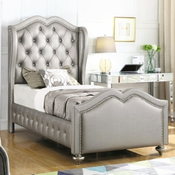 Belmont Twin Upholstered Bed with Tufted Wing Headboard