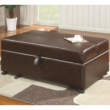 Rectangular Upholstered Sleeper Ottoman Dark Brown 500750
