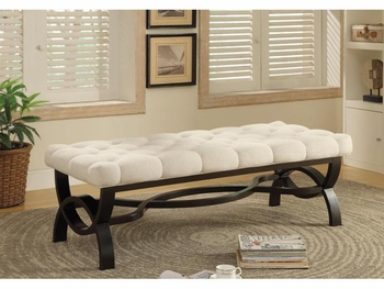 Benches Transitional Bench with Tufted Beige Seat