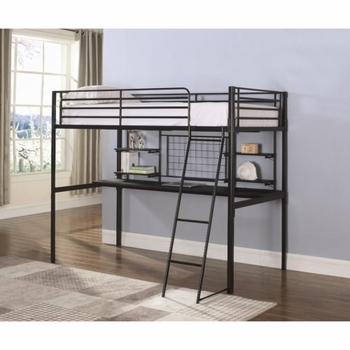 Boltzero Contemporary Twin Loft Bunk Bed with Workstation