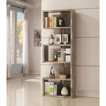 Bookcases Open Bookcase with Distressed Wood Finish