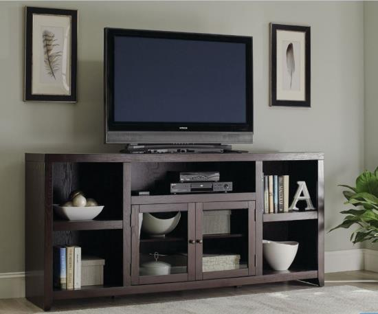 Breckinridge Transitional TV Stand With Glass Doors
