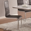Broderick Contemporary Dining Side Chair with Upholstered Faux Black Seats and Chrome Legs