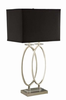 Rectangular Shade Table Lamp Black And Brushed Nickel # 901662