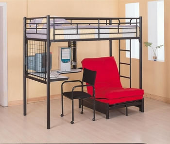 Bunks Twin Loft Bunk Bed with Futon Chair & Desk with pad