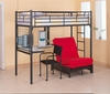Bunks Twin Loft Bunk Bed with Futon Chair & Desk without pad