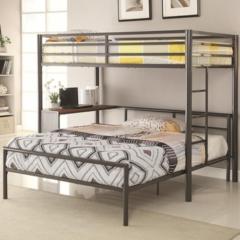 Bunks Twin Metal Workstation Loft Bed with Full bed 460229