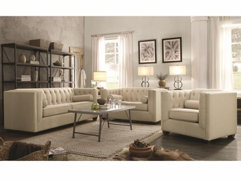 Cairns Stationary Sofa with Tufted Back and Lumbar Pillows
