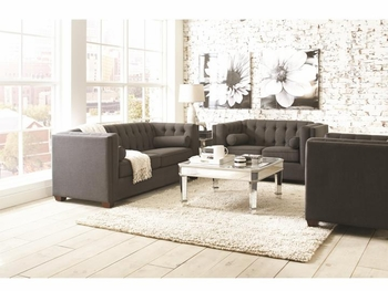 Cairns Stationary Sofa with Tufted Back and Lumbar Pillows 504901