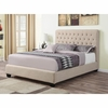 California King Chloe Upholstered Bed with Tufted Headboard & Neutral Color Fabric