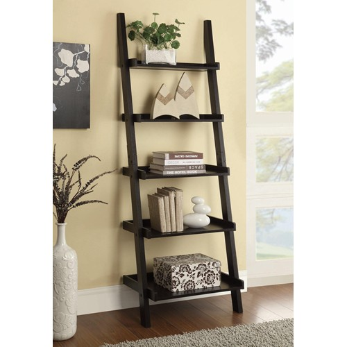 Cappuccino Ladder Bookcase with 5 Shelves - Classic Bookcase Bookshelf Office Rooms Bookshelves Washington DC