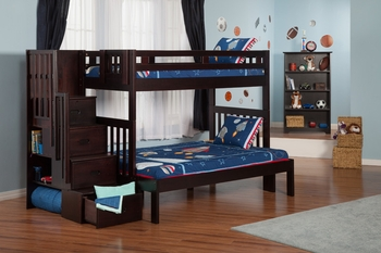 Cascade Twin/Full size staircase bunkbed