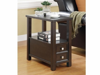 Chairside Table With Storage Drawers Cappuccino 900992