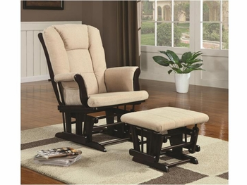 Casual Glider Rocker with Beige Upholstery and Storage Pocket