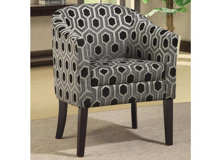 Charlotte Hexagon Patterned Accent Chair With Wood Legs